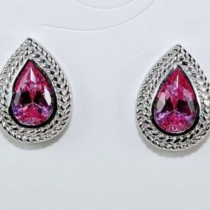 2CT Natural Pink Sapphire, Silver 925 Earrings